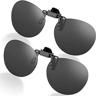 Clip-on Sunglasses, Unisex Polarized Frameless Rectangle Lens Flip Up Clip on Prescription Sunglasses Eyeglass, 2-Piece Clip on Glasses
