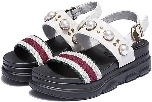 XZGC Confort D'été pour étudiants Chaussures Bas Muffins Sandales Perles Perles Perles Loisirs 2ea