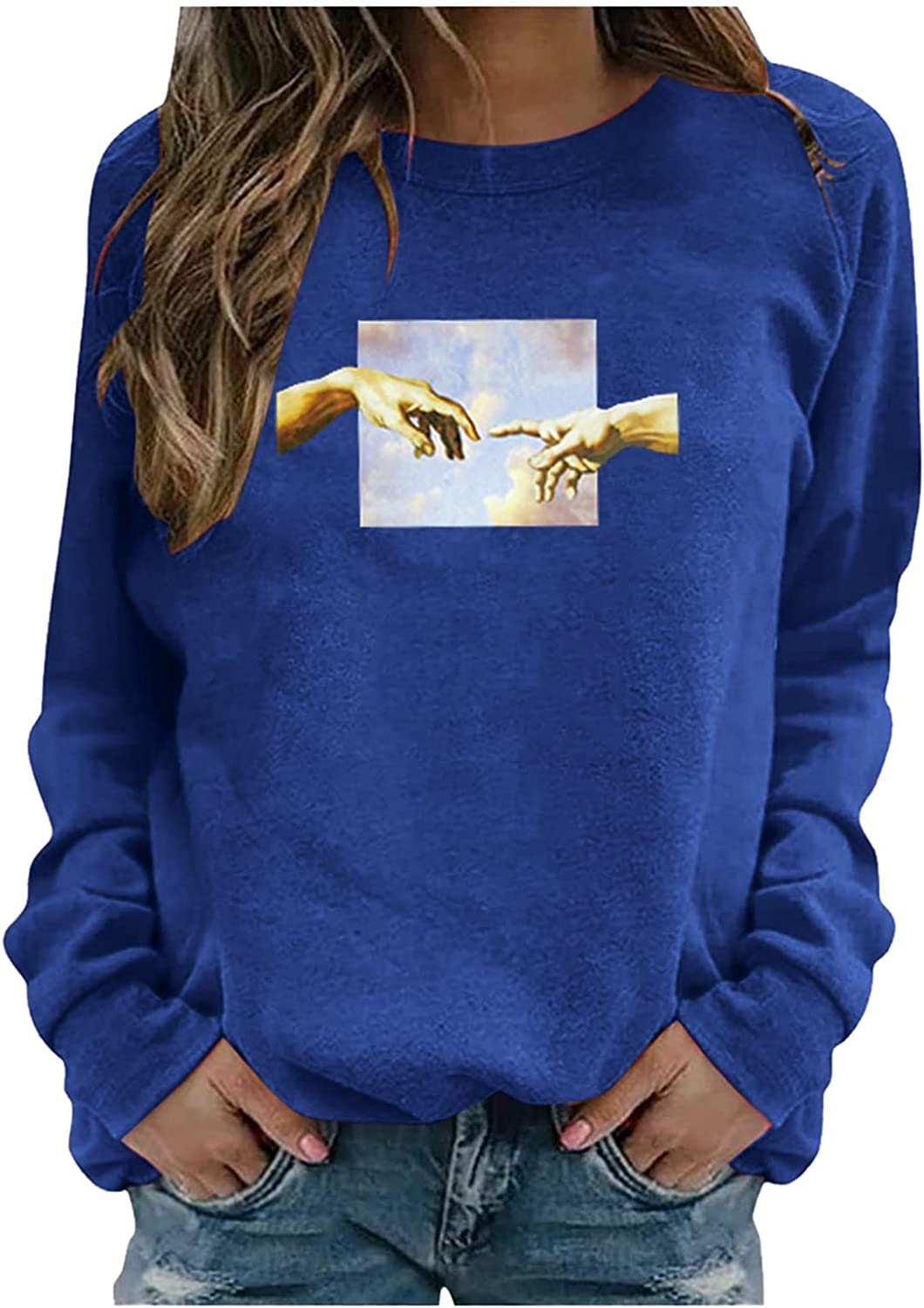fannyouth Womens Pullover Tops,Sweatshirt Pullover for Women Vintage Pattern Long Sleeve Casual Crewneck Sweatshirts Top