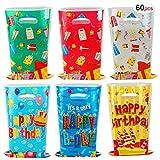 HOWAF 60 Piezas Bolsas Regalo Cumpleaños, Bolsas para chuches, Bolsas Plástico para Frutos Secos, Caramelos, Chocolate, piñata, Navidad de Regalo Fiestas Infantiles cumpleaños de niños
