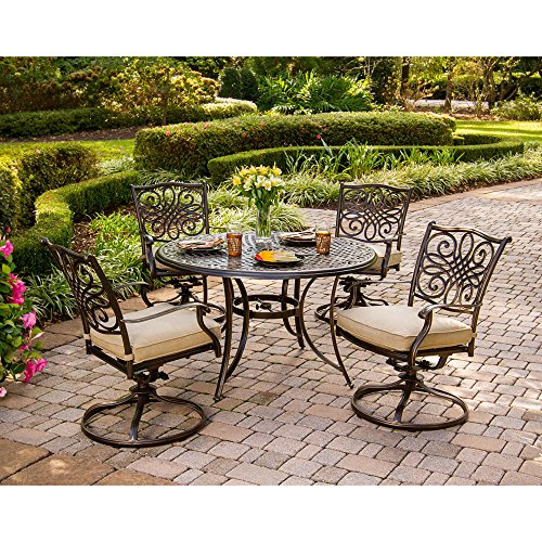 Hanover Traditions 5-Piece Cast Aluminum Outdoor Patio Dining Set, 4 Swivel Rocker Chairs and 48