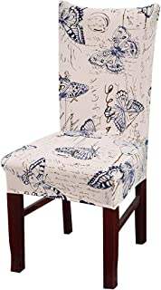 Vonty Floral Printed Dining Chair Cover Stretch Removable Chair Slipcover Protector 1 Piece, Butterfly
