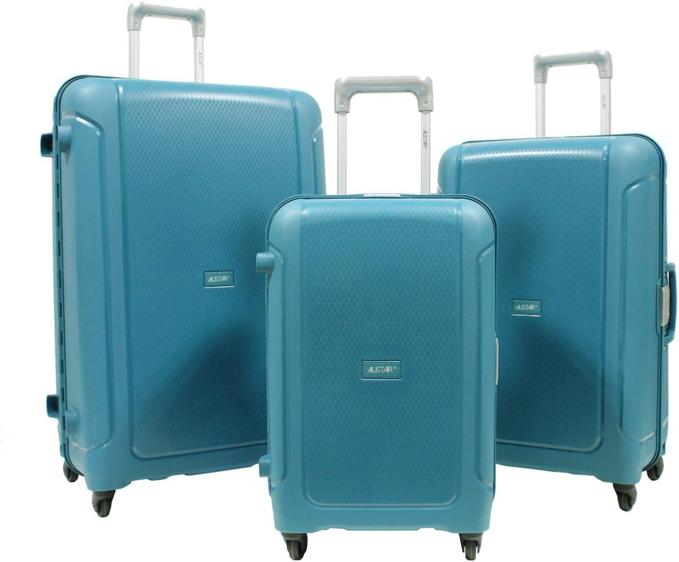 Polypropyl/ène Ultra l/ég/ères et r/ésistantes Marque fran/çaise Set de 3 Valises -55cm-67cm-78cm Bleu Marine ALISTAIR X-Lock 4 Roues
