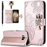 ikasus Galaxy S8 Plus Case,Galaxy S8 Plus Cover, Bling Diamonds Glitter Embossing Mandala Owl PU Leather Fold Wallet Flip Stand Protective Case Cover + Dust Plug & Stylus for Galaxy S8 Plus,Rose Gold