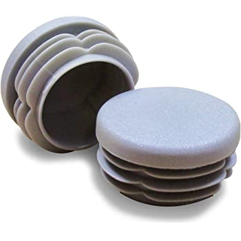 4 piezas BLANCA di/ámetro 22 mm Contera redonda acanalada para tubos EPR222-M ajile