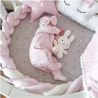 LOAOL Baby Crib Bumper Knotted Braided Plush Nursery Cradle Decor Newborn Gift Pillow Cushion Junior Bed Sleep Bumper (2 Meters, Pink-White-Pink)