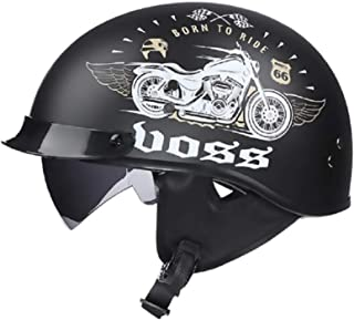 Adult Retro Half Opening Motorcycle Helmet with Goggles Visor Motorbike Helmets Motocross Racing Safety Protection Caps DO...