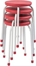 Pearington Kids Multipurpose, Stackable Classroom Plastic School Chair and Stool for Flexible Seating - Commercial Grade Resin and Steel - Fully Assembled - 4 Pack, Red and White