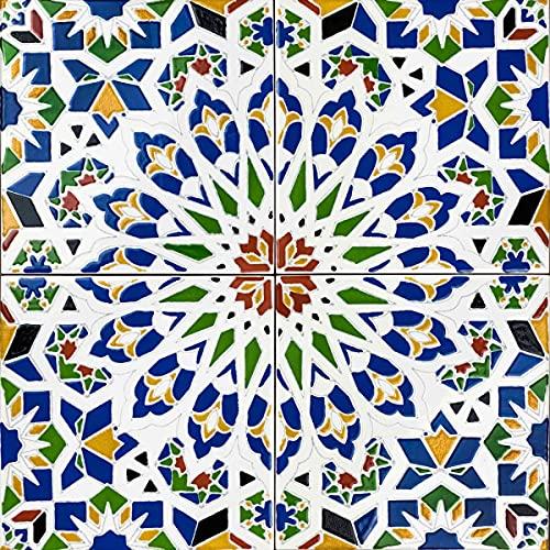 Cerames - Nazir - Azulejos de cerámica marroquí - 12 azulejos decorativos de estilo oriental tunecino (0,48 m2) 20 x 20 cm para el baño, la cocina, bajo las escaleras. Azulejos decorativos de colores.