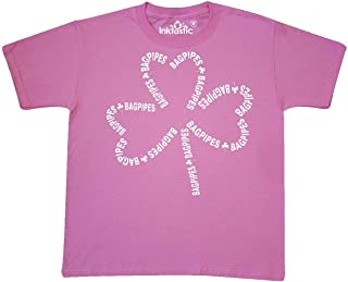 inktastic Bagpipes White Text Shamrock Youth T-Shirt