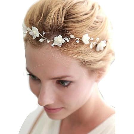 Gracewedding, cerchietto per capelli, a forma di fiori intrecciati, da sposa, alla moda, con cristalli