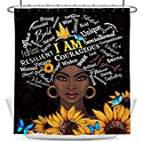 Coxila Black Girl Shower Curtain 60x72 inch African Women Quotes Sunflowers Bathroom Curtain Polyester Fabric Waterproof 12 Pack Hooks