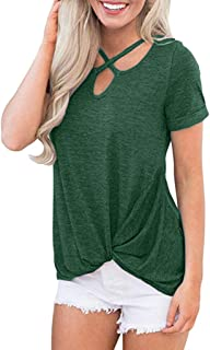 Han Shi Womens Front Cross Short Sleeve T-Shirt Summer Casual Twist Knotted Blouse Top