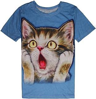 猫 tシャツ 花千束 メンズ 半袖 可愛い 動物柄 3Dプリント オシャレ 人気 プレゼント ダンス お揃い服 夏 シャツ 大きいサイズ カットソー