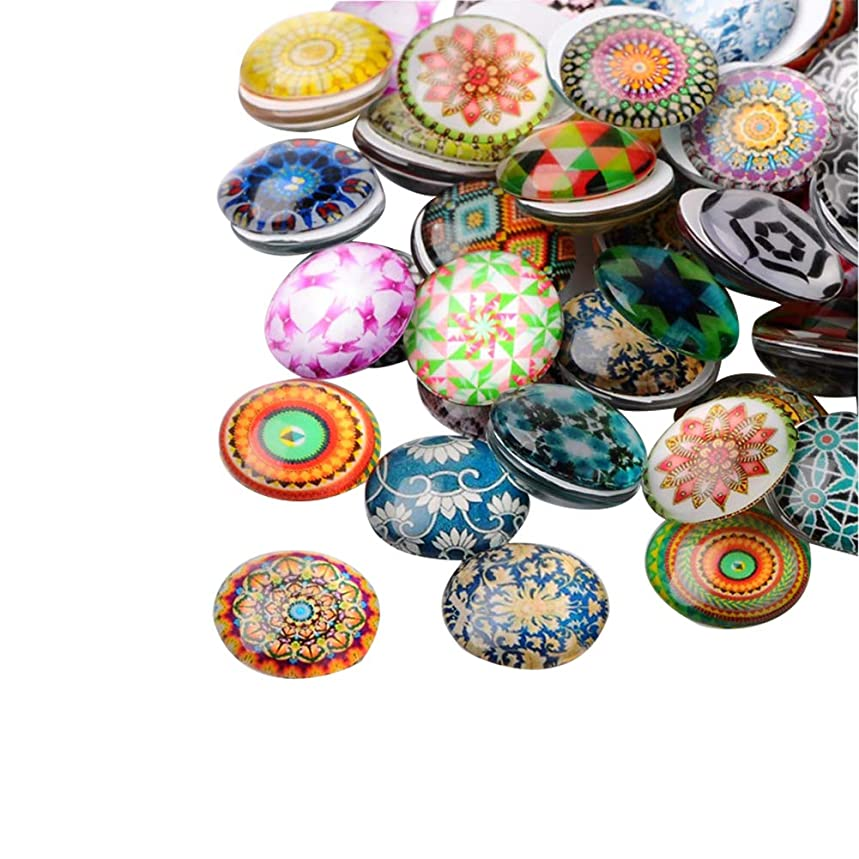 ARRICRAFT 200pcs Mosaic Printed Glass Cabochons 10mm Half Round Dome Glass Cabochon Beads for Crafting DIY Jewelry Making