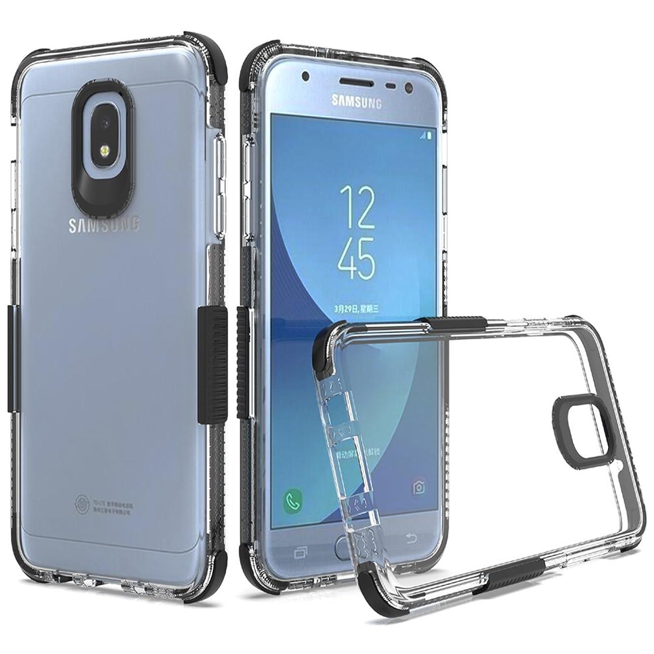 for Samsung Galaxy J7 2018/J7 V 2nd Gen/J7 Aero/J7 Top/J7 Refine/J7 Eon/J7 Star/J7 Crown/J7 Aura Case, Dretal Crystal Double Color TPU Case Shock Absorption Flexible Protective Cover (Clear Black)