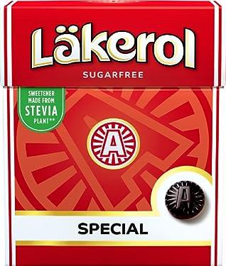 4 cajas de 0.88oz de Läkerol Special – original – sueco – Licorice – menta – salmiak – libre de azúcar – Stevia – pastillas – Lozenges – gotas – dragees – dulces – dulces