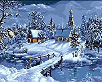 DIY数字油絵 塗り絵キット パズル油絵 雪の森 デジタル油絵 手塗り 数字キットによる絵画 絵かき インテリア 壁飾り ホームデコレーション 40x50cm(額縁なし)