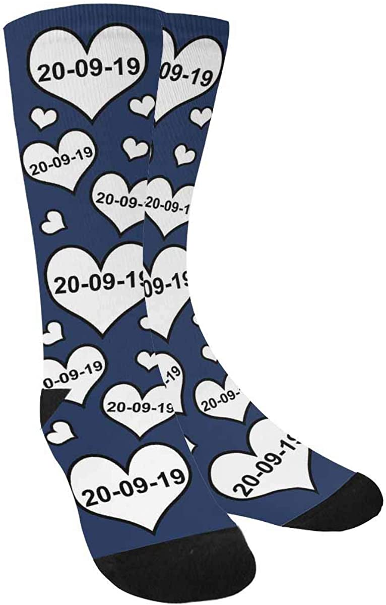 Custom Socks with Text Baltimore Mall Personalized Anniversary C Date Ranking TOP16 Birthday