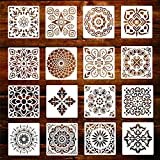 Mandala Stencil Templates, 16 pezzi Riutilizzabili Mandala Templates per Parete/Mobili, Plastica Disegno Pittura Modello di Stencil per Scrapbook Pareti DIY Decorazione15x15cm (Bianco)