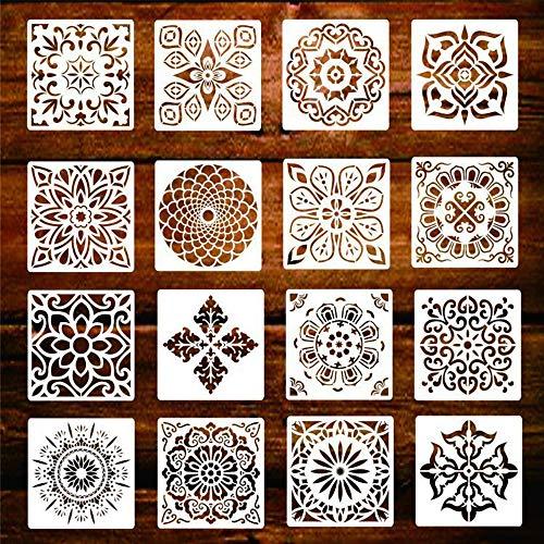 Mandalas Plantillas, 16 Piezas Reutilizable Plantillas Mandala para la pared/pintar paredes/Mobiliario decoración,pintar/dibujo mandalas para Niños y adultos (Blanco 15x15cm)