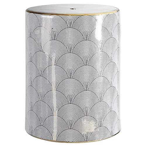 "Jonathan Y TBL1001A Fish Scale 17"" Modern Ceramic Garden Stool, White/Gold"