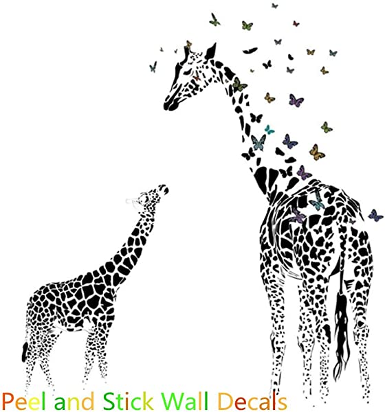 FUNUP Butterfly Giraffe Wall Stickers For Nursery Room Wall Art Kid S Room Decal Vinyl Art DIY Impermeable Removable Wall Decal 35 4 X 23 6