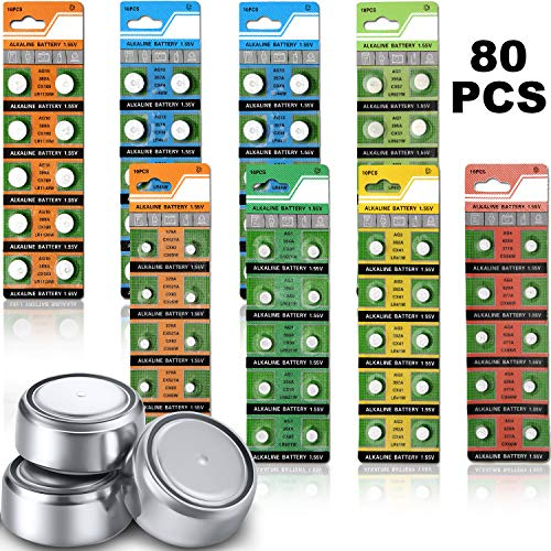 80 Stücke 1,5 V Knopfzelle Batterie Münze Zellen Batterien AG0 AG1 AG3 AG4 AG7 AG10 AG13 LR44 Knopf Batterie für Elektronische Geräte Zubehör