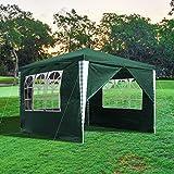 wolketon Gazebo 3x3 m Carpas Impermeables Pergola con 4 Laterales Cenador Verde Camping Cenadores para Jardin, Playa, terraza