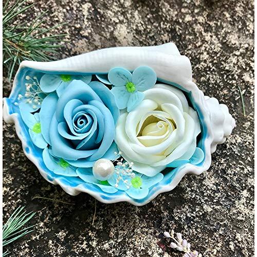 JYSS Savon Flower Gift Box Ceramic Conch Shell Creative Decoration Day of Mother's for Girlfriend Teacher's Day Soap Flower Model Medium Blue Rose + Gift Box 2+ Bear
