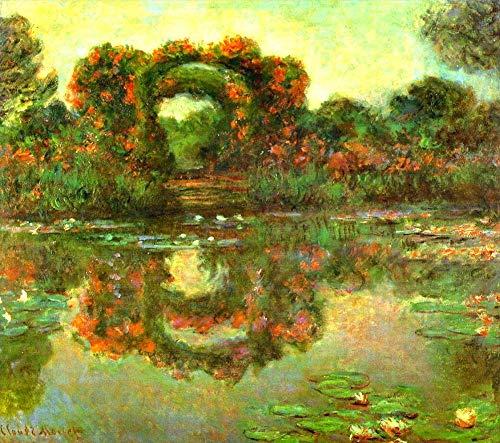 Desconocido Pintura al óleo a Mano de Pintores universitarios - 33 Pinturas Famosas - The Flowered Arches at Giverny Claude Monet Flores FRIM2 - Pintado de Lienzo -tamaño02