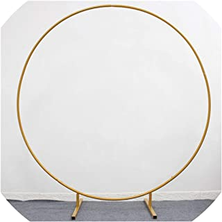 Wedding Props Wrought Iron Round Ring Arch Wall Artificial Flower Decoration Home Holiday Celebration Wedding Photography Shelf,Gold,2M