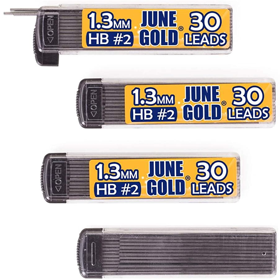 June Gold 120 Pieces, 1.3 mm HB #2 Lead Refills, 30 Pieces Per Tube, Medium Bold Thickness, Break Resistant Lead/Graphite (Pack of 4 Dispensers)
