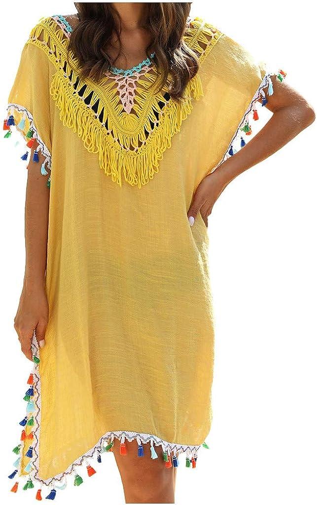 TOTOD Women's Cover Ups Irregular Crochet Paneled Fringed Blouse Swimsuit Sunscreen Ethnic Beach Dress