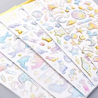 TXIN Set of 5 Cute 3D Stickers Calendar Scrapbook Planner Journal Stickers for Girls, 5 Styles