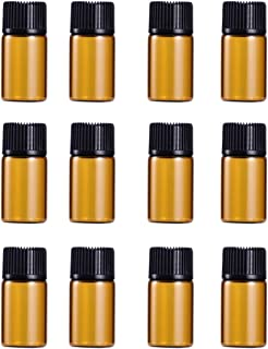 Lurrose Frascos de Vidro Âmbar de 12 Peças Frascos de Amostra de Óleo Essencial Frascos de Óleo Âmbar Vazios Com Tampas Pr...