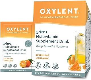 Oxylent 5-in-1 Multivitamin Supplement Drink - Sugar-Free & Effervescent for Easy Absorption of Vitamins, Minerals, Electrolytes, Antioxidants, Sparkling Mandarin Flavor, 20 Count