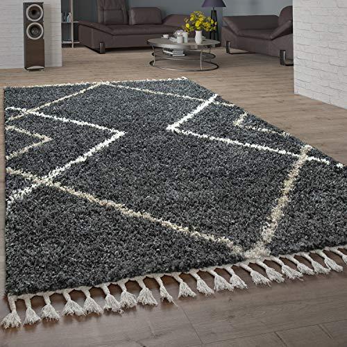 Paco Home Shaggy Teppich Hochflor Wohnzimmer Weich Skandi Rauten in vers. Farben u. Größen, Grösse:160x220 cm, Farbe:Anthrazit