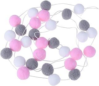 2M Pom-Pom Flags Garland String Room Fluffy Felt Balls Kids Party Embellishments