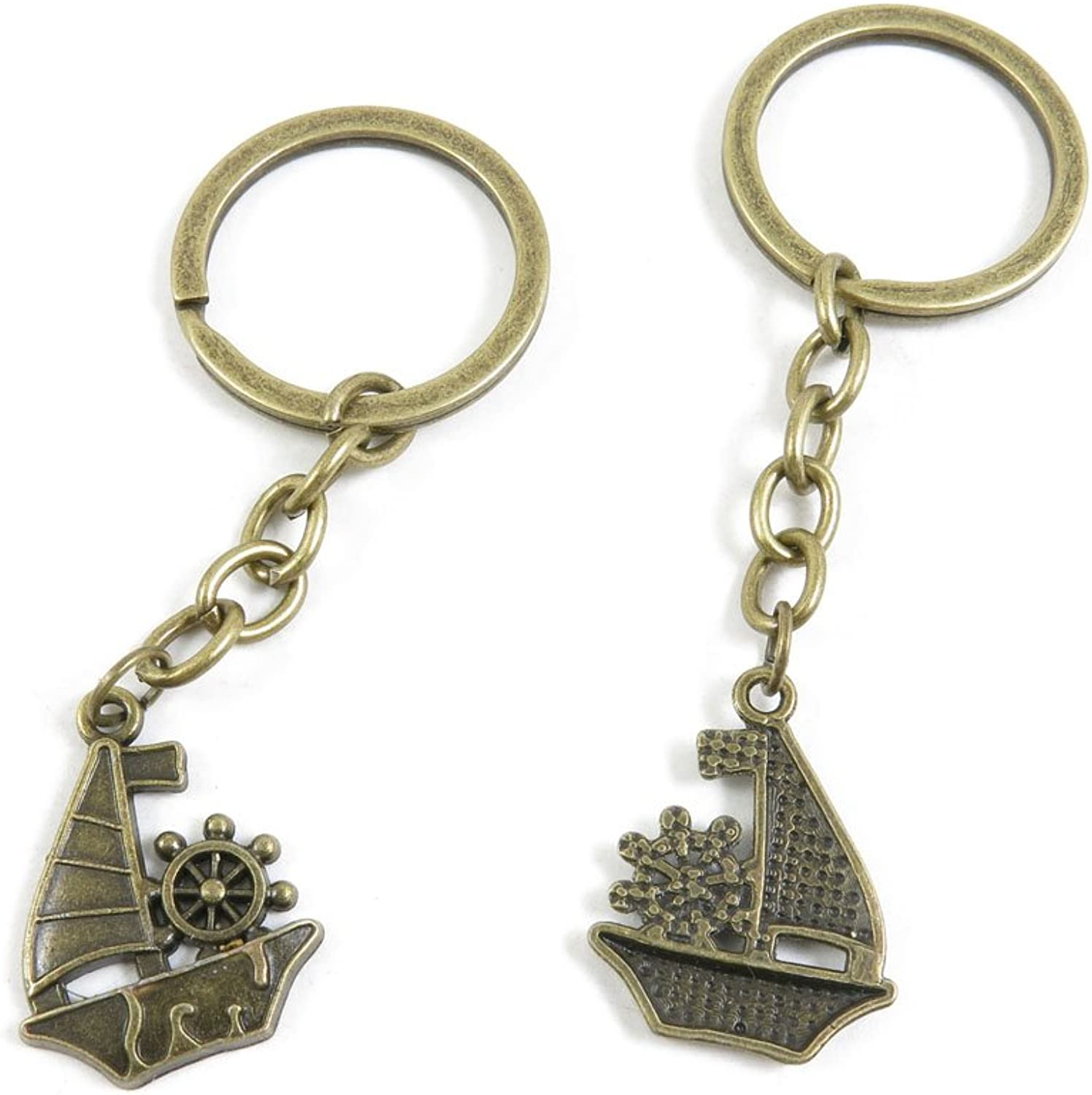 190 Pieces Fashion Jewelry Keyring Keychain Door Car Key Tag Ring Chain Supplier Supply Wholesale Bulk Lots R2OI5 Junk Sailing Ship