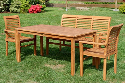 ASS Teak Set: Gartengarnitur Gartentisch 150x80 cm + 1 Bank 150 cm für 3 Personen + 2 Sessel Serie JAV-Alpen - 5
