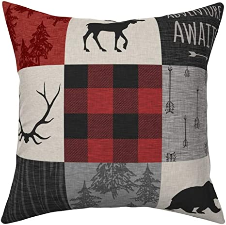 trimmed out with buffalo check cuff woodland Personalized Fox Pillowcase with Name for Toddler  Child Cotton mountain theme lumberjack