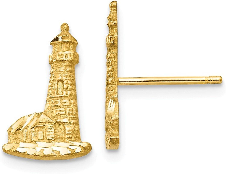 Beautiful Yellow gold 14K Yellowgold 14K Diamondcut Lighthouse Earrings