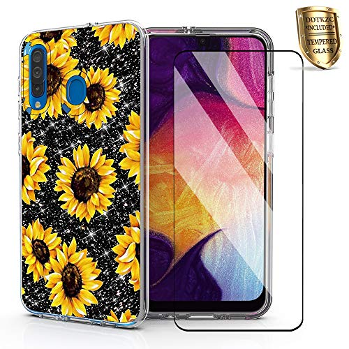 for Samsung A20 Case, Samsung A50 Case Glitter, DDTKZC Tempered Glass Protector Lustre Pattern-Sparkle 3 in 1 Clear Shockproof Case (Yellow Sunflower)
