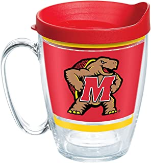 Tervis 1257534 Maryland Terrapins Legend Insulated Tumbler with Wrap and Red Lid, 16oz Mug, Clear