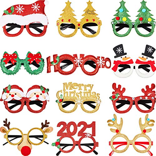 12 Pairs Christmas Glasses Novelty Eyeglasses Christmas Tree Santa Eyeglasses Christmas Decoration Eyeglasses for Holiday Favors, Assorted Styles 12 Pieces