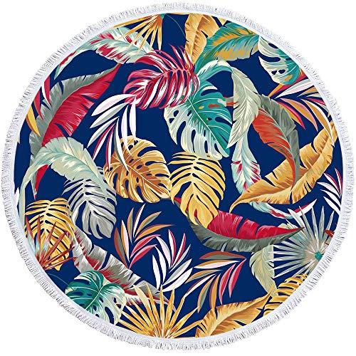Vanzelu Strandhanddoek, verlicht, rond, met eiken-opdruk, bladen, plafond