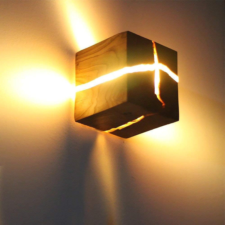Kreative quadratische led massivholz wandleuchte sprung wandleuchte 5 watt holz nachtlicht warmwei 3000 k nachttischlampe flur wandleuchte