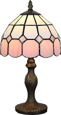 Tiffany Style Lampe de table de chevet de style méditerranéen de 8 pouces (4 couleurs pour choisir) (Couleur: rose 1) LINGZHIGAN (Color : Pink 1)