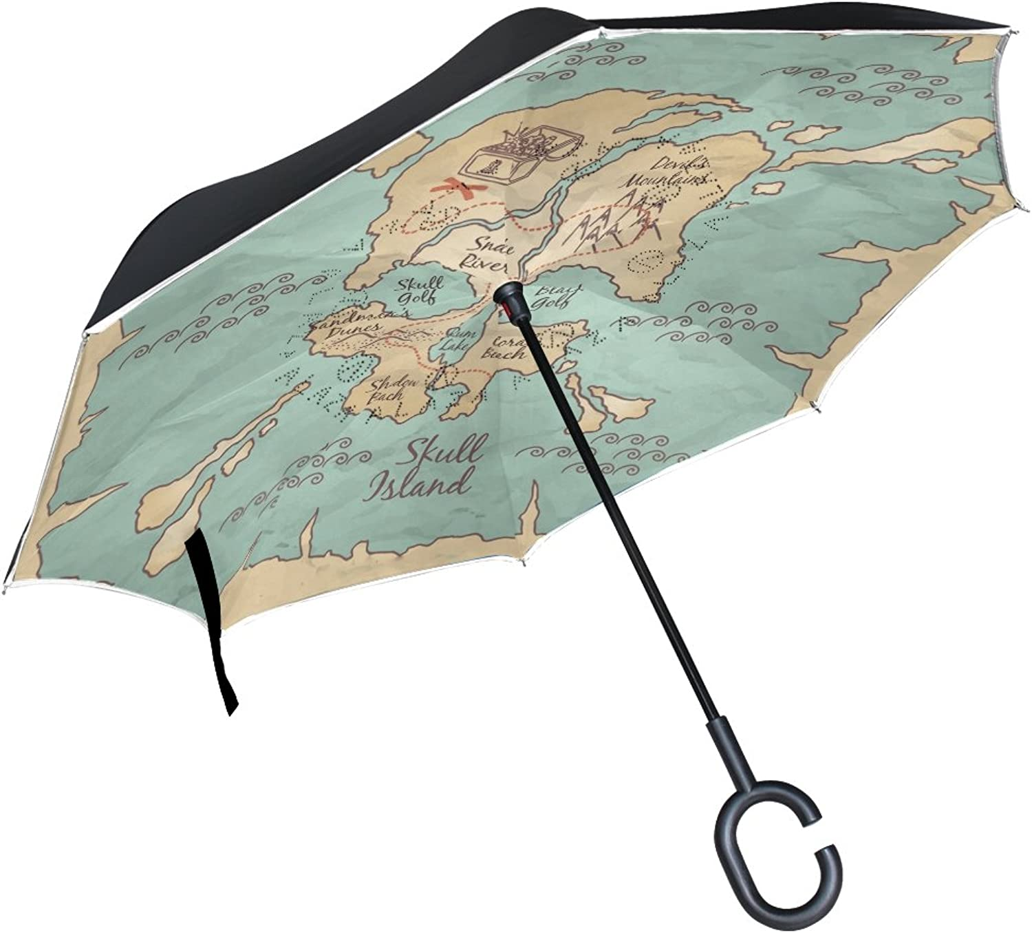 OREZI Map BackgroundIngreened Umbrella Double Layer Reverse Umbrella Windproof UV Predection CShaped SelfStand Umbrella for Car Rain Outdoor Travel Woman Man